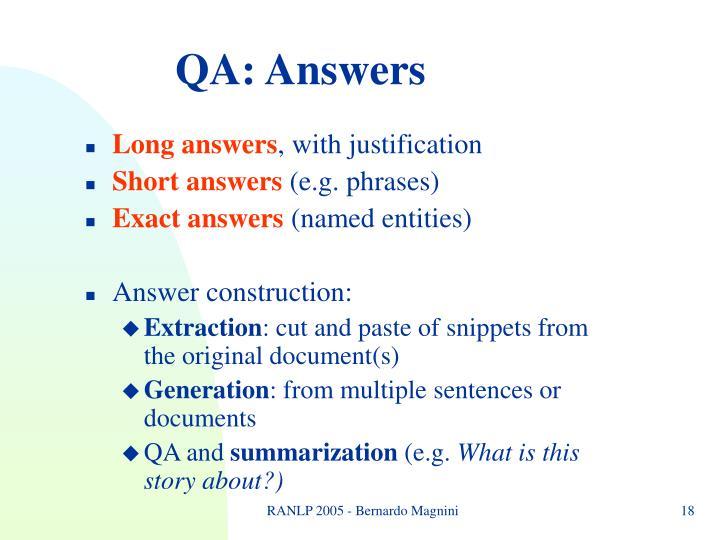 QA: Answers