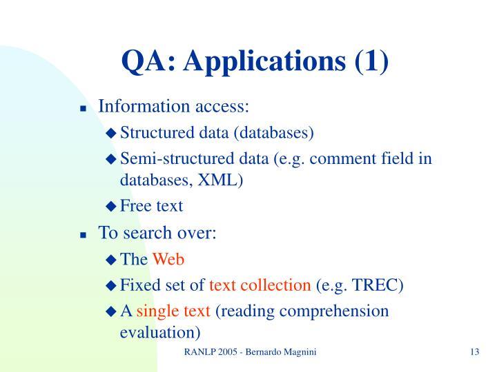 QA: Applications (1)