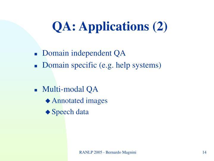QA: Applications (2)