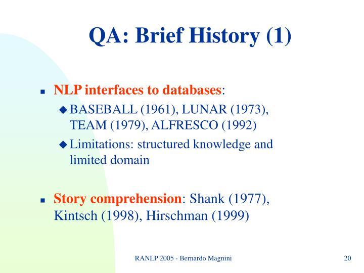 QA: Brief History (1)