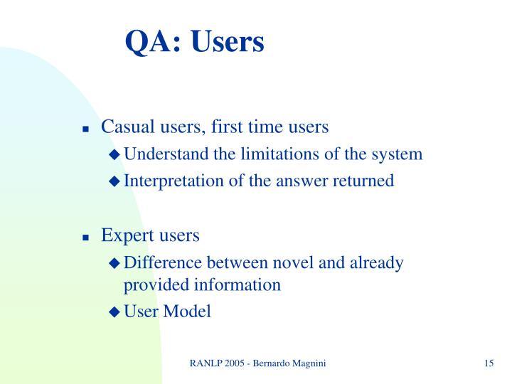 QA: Users