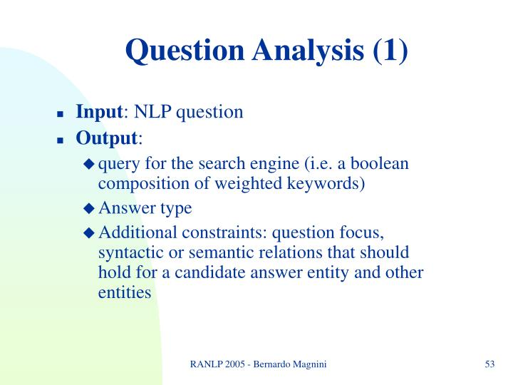 Question Analysis (1)