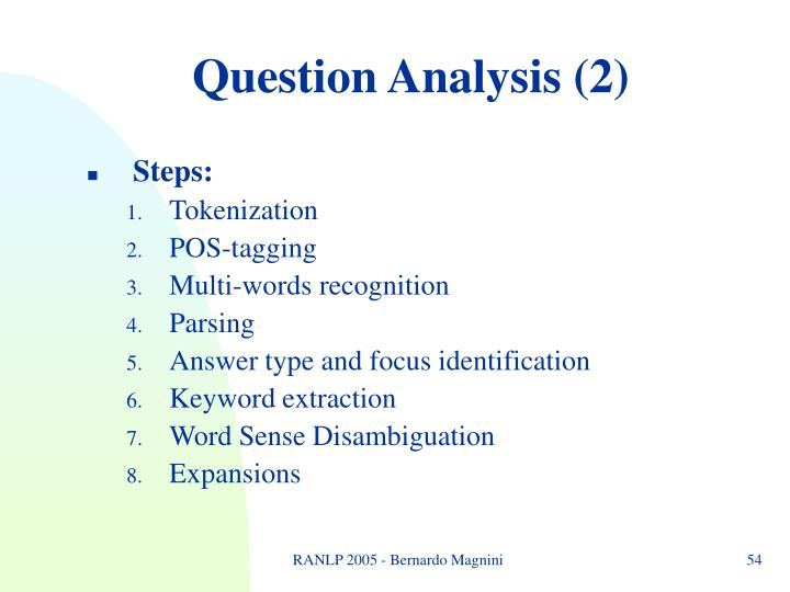 Question Analysis (2)