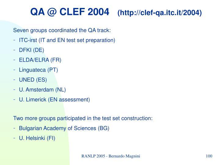 QA @ CLEF 2004