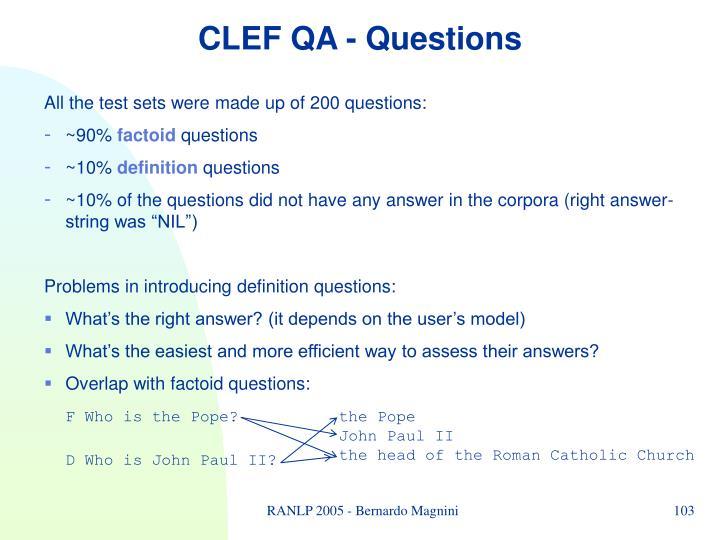 CLEF QA -