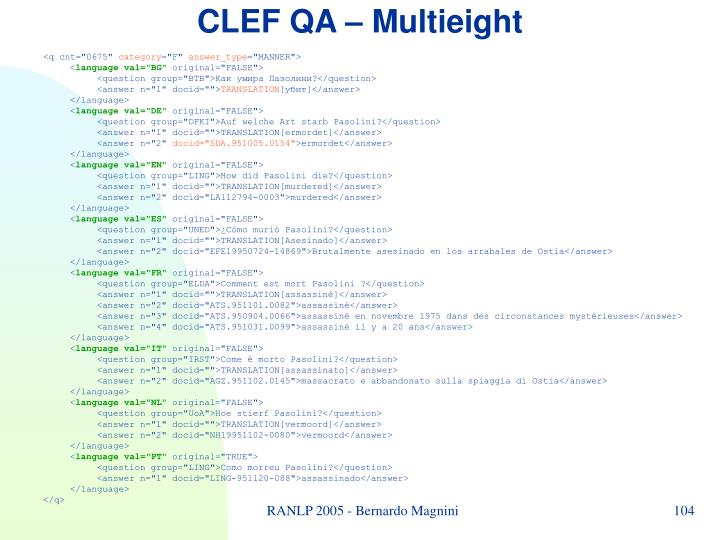 CLEF QA –