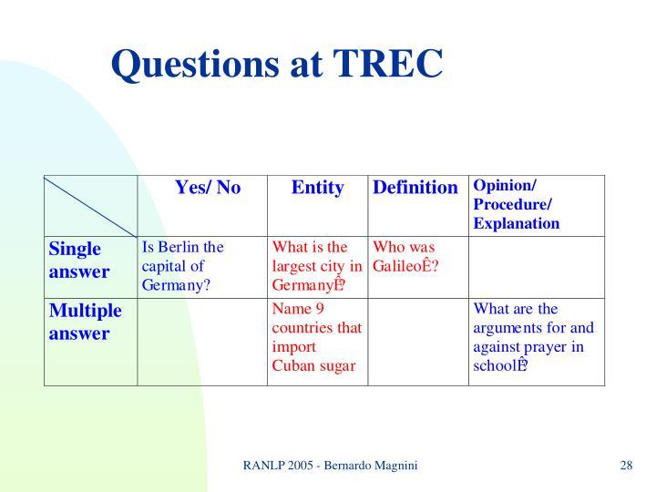 Questions at TREC