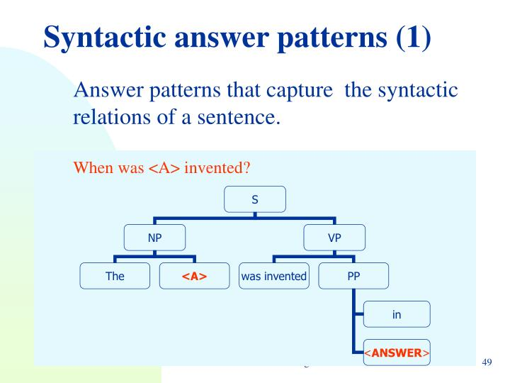 Syntactic answer patterns (1)