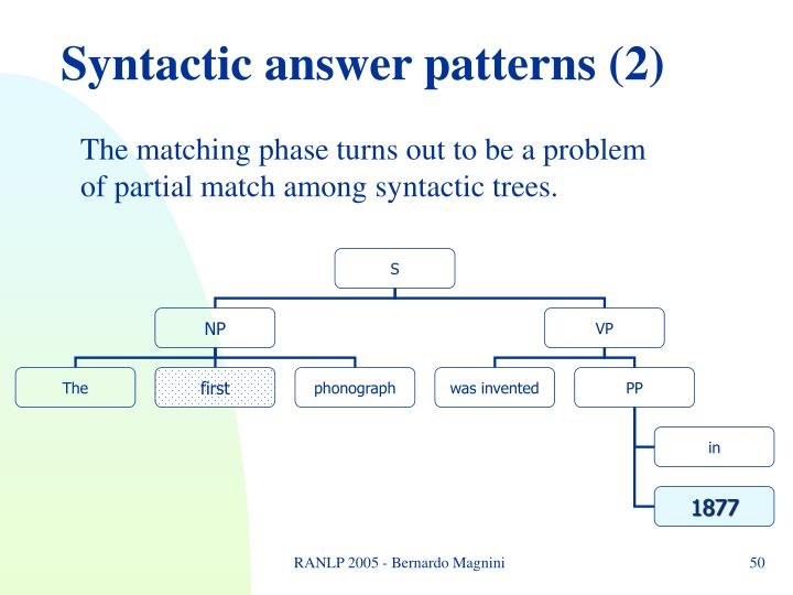 Syntactic answer patterns (2)