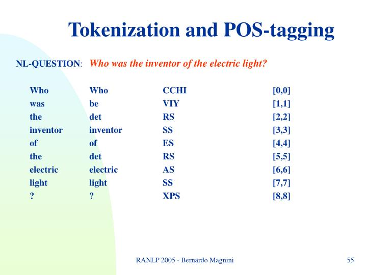 Tokenization and POS-tagging
