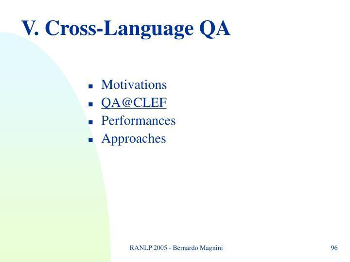 V. Cross-Language QA