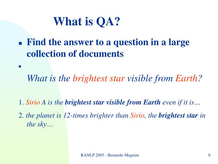 What is QA?