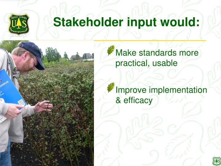 Stakeholder input would: