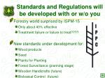 standards and regulations will be developed with or w o you