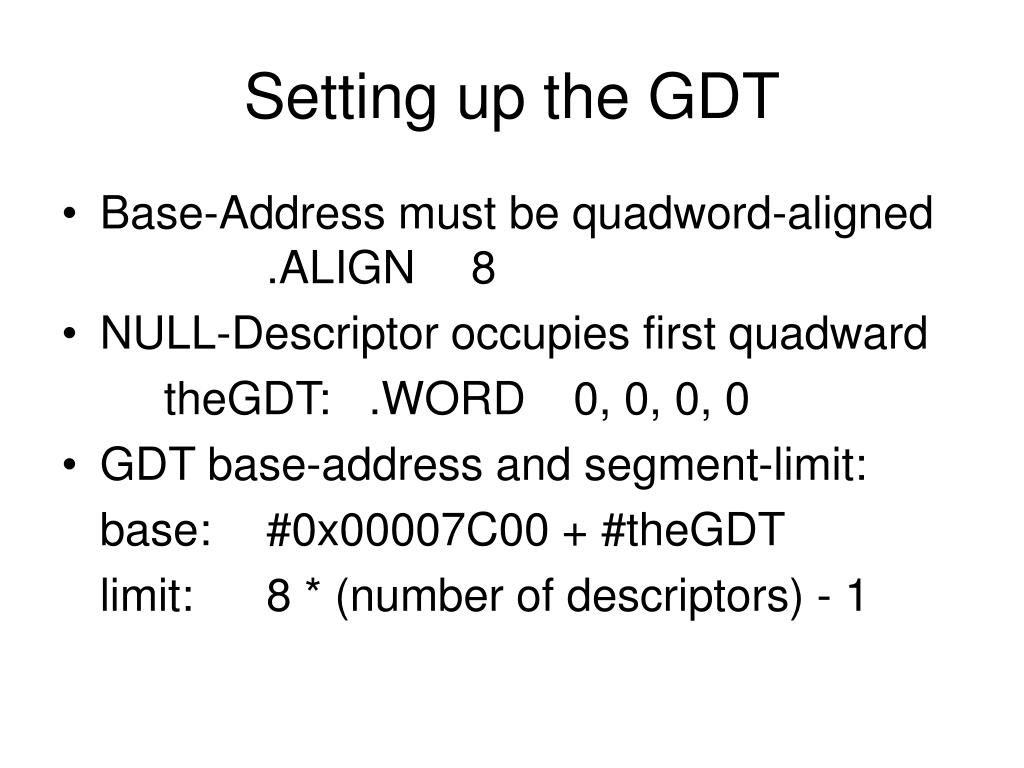 Setting up the GDT