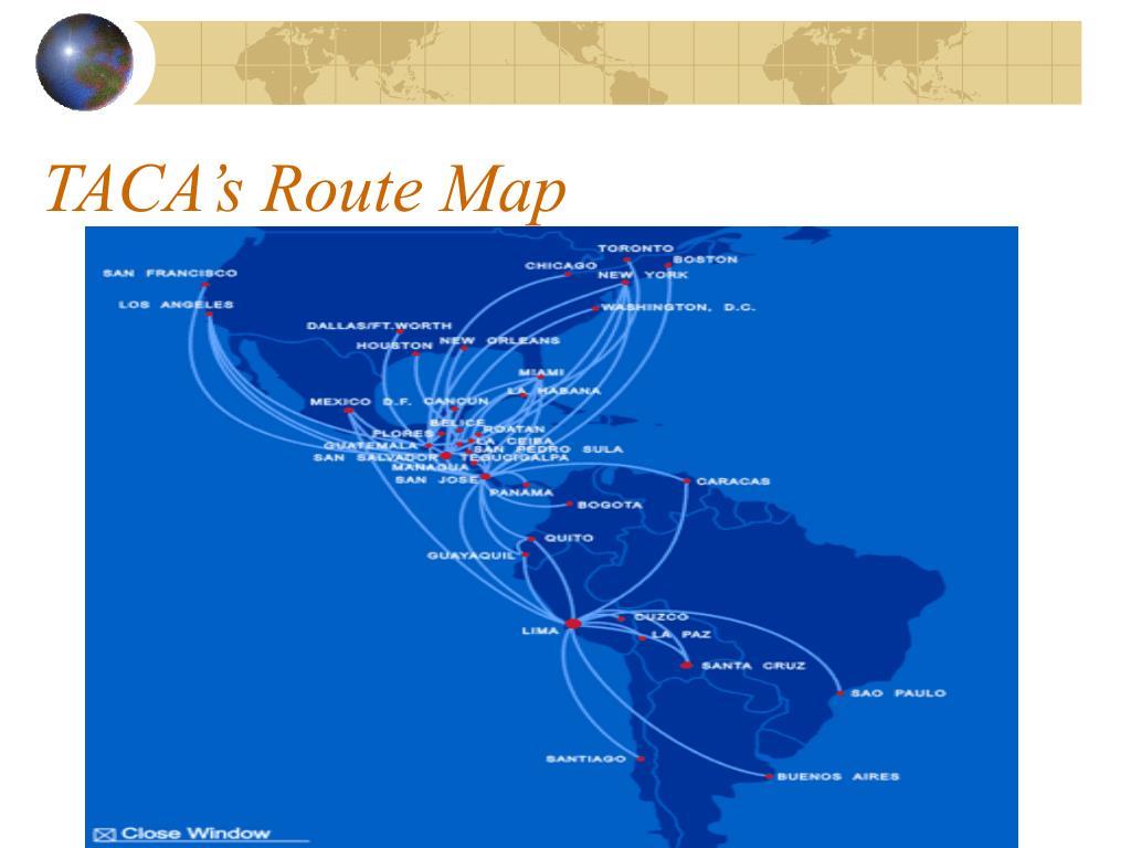 TACA's Route Map