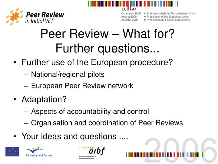 Peer Review – What for?