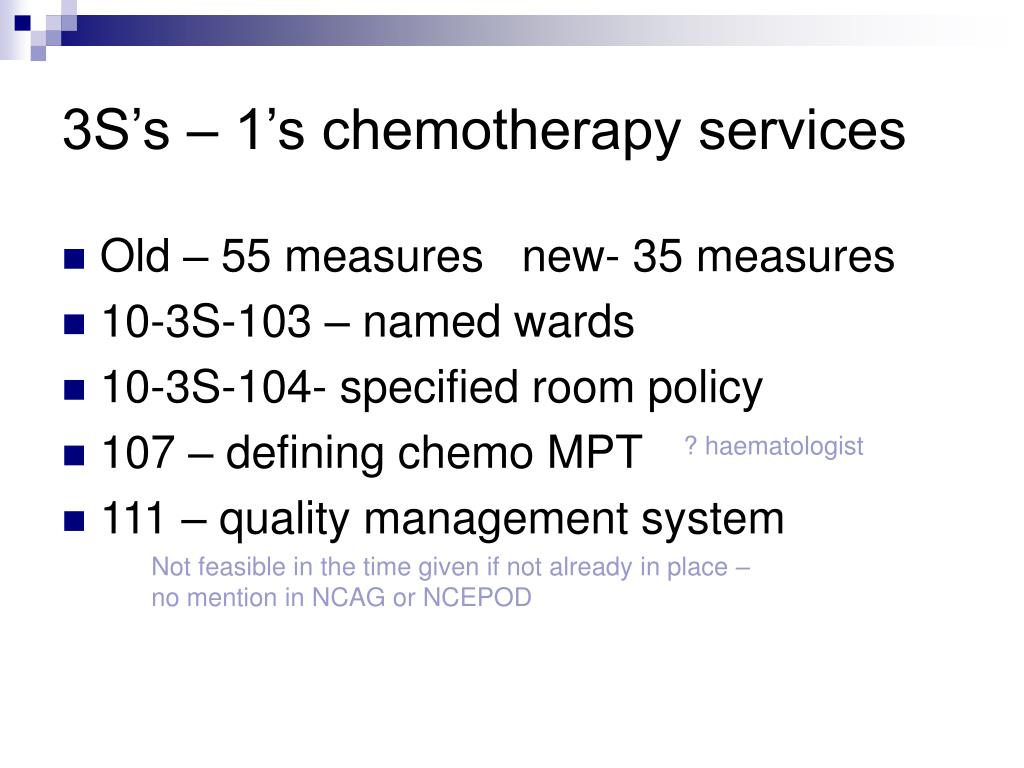 3S's – 1's chemotherapy services