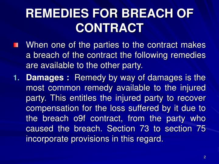 Remedies for breach of contract1
