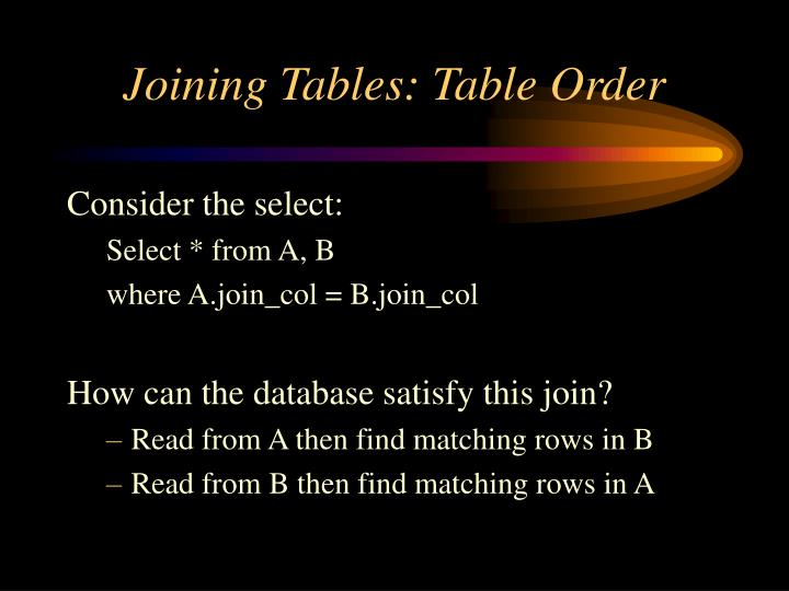 Joining Tables: Table Order