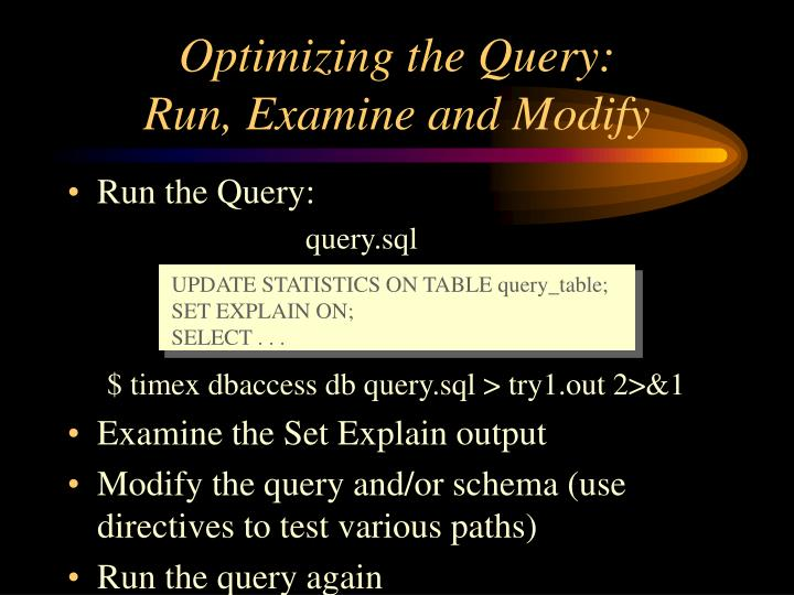 UPDATE STATISTICS ON TABLE query_table;