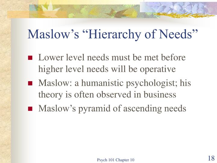 "Maslow's ""Hierarchy of Needs"""