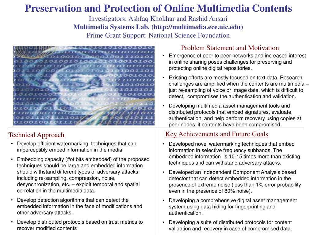 Preservation and Protection of Online Multimedia Contents
