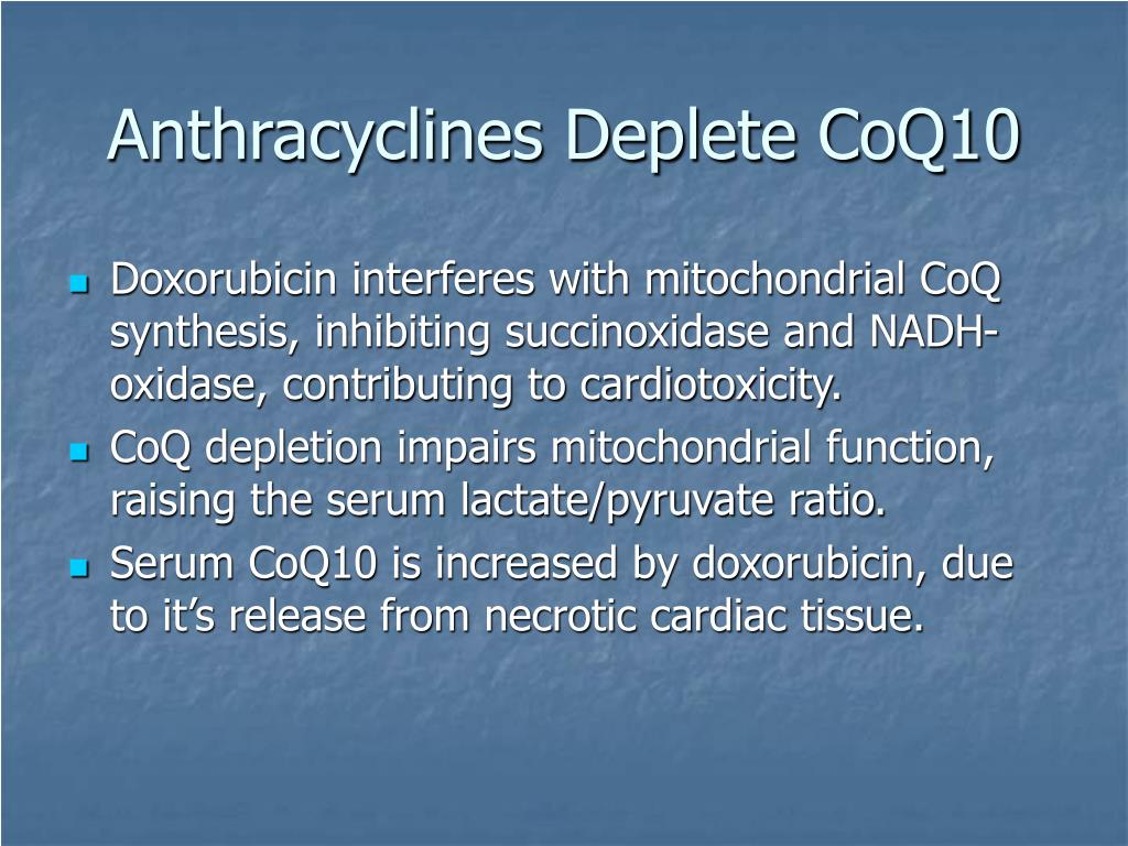 Anthracyclines Deplete CoQ10