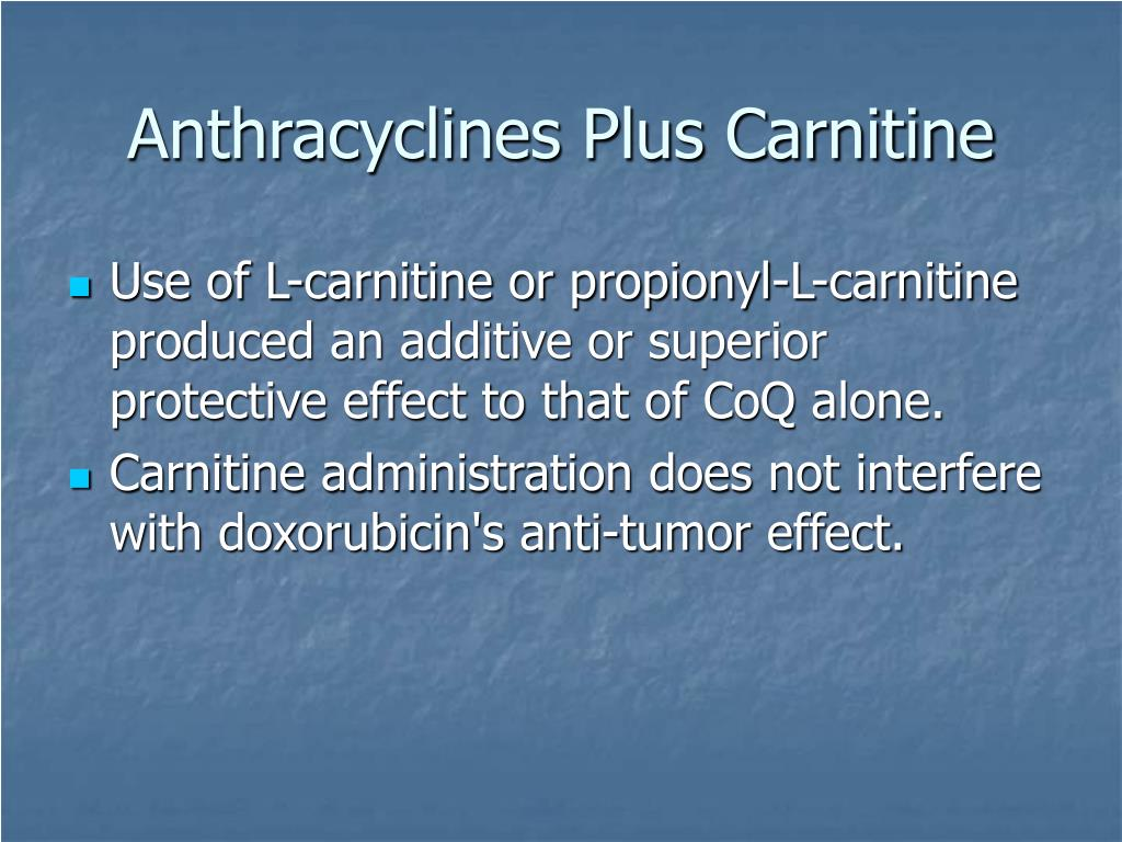 Anthracyclines Plus Carnitine