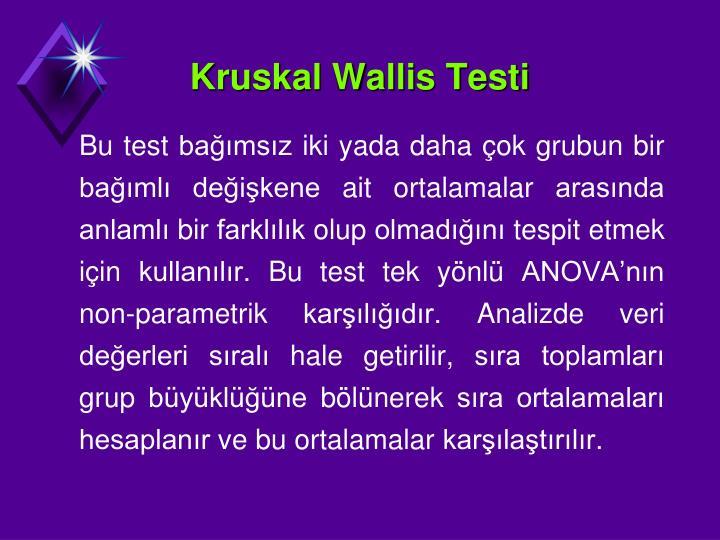 Kruskal Wallis Testi