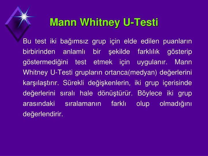 Mann Whitney U-Testi