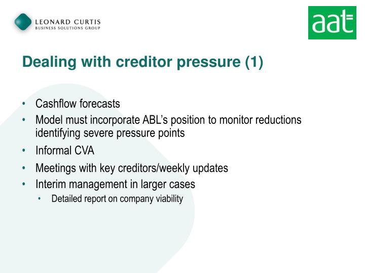 Dealing with creditor pressure (1)