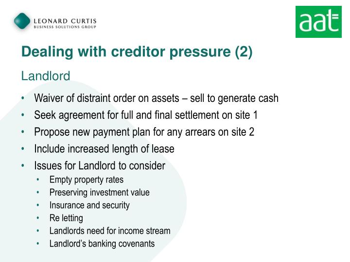 Dealing with creditor pressure (2)