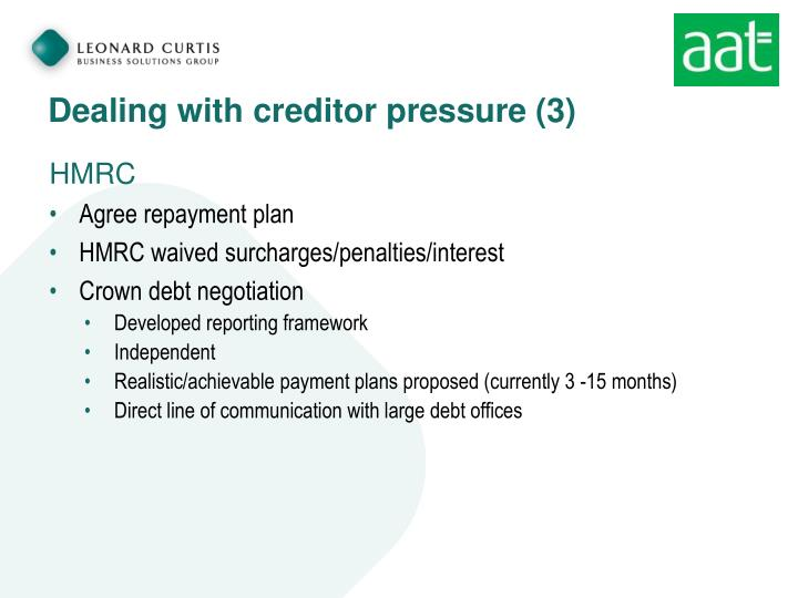 Dealing with creditor pressure (3)