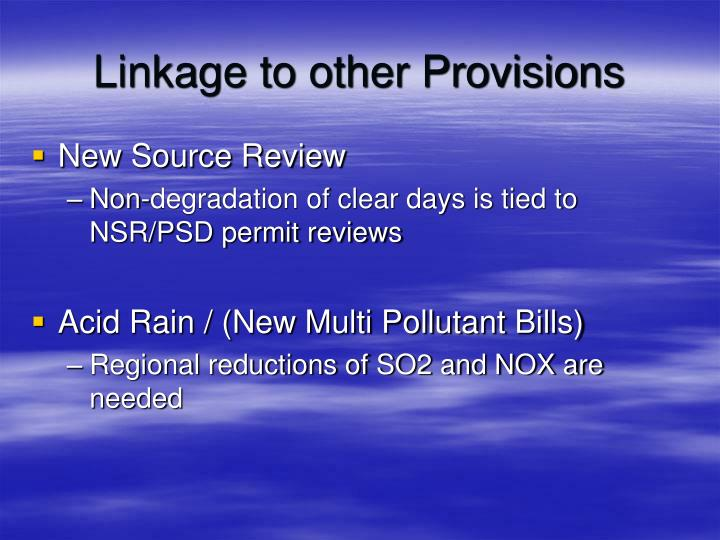 Linkage to other Provisions
