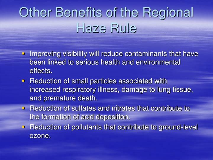 Other Benefits of the Regional Haze Rule