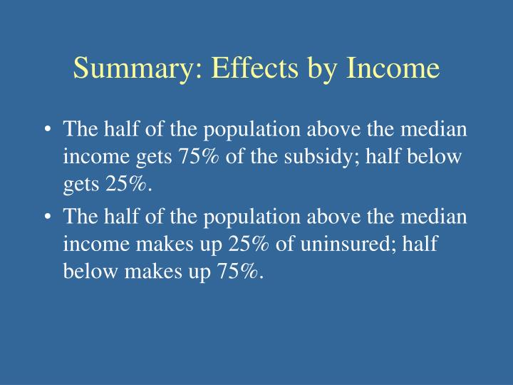 Summary: Effects by Income