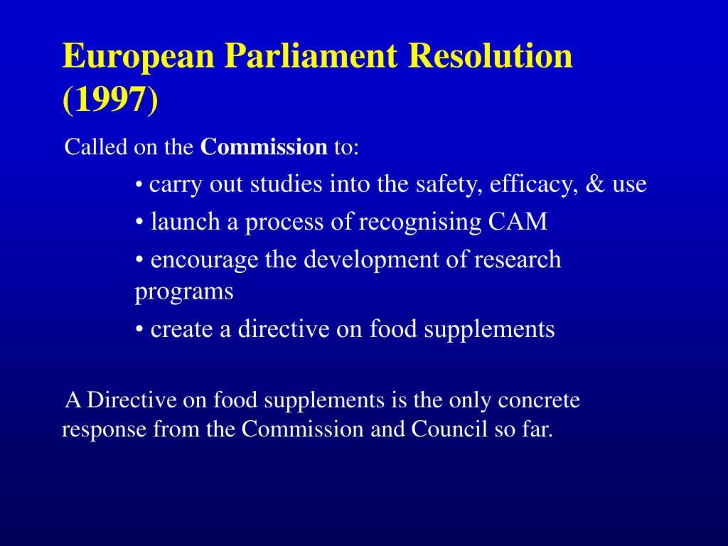 European Parliament Resolution (1997)
