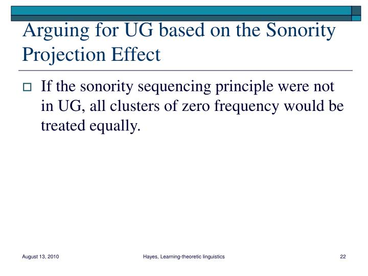 Arguing for UG based on the Sonority Projection Effect