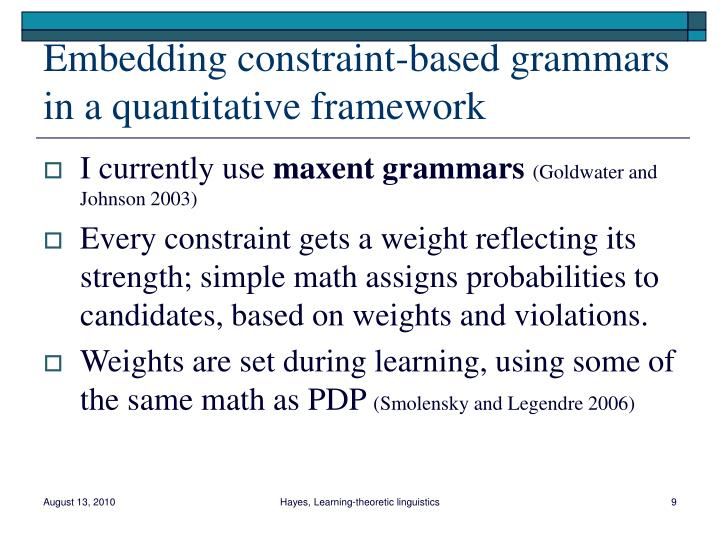Embedding constraint-based grammars in a quantitative framework