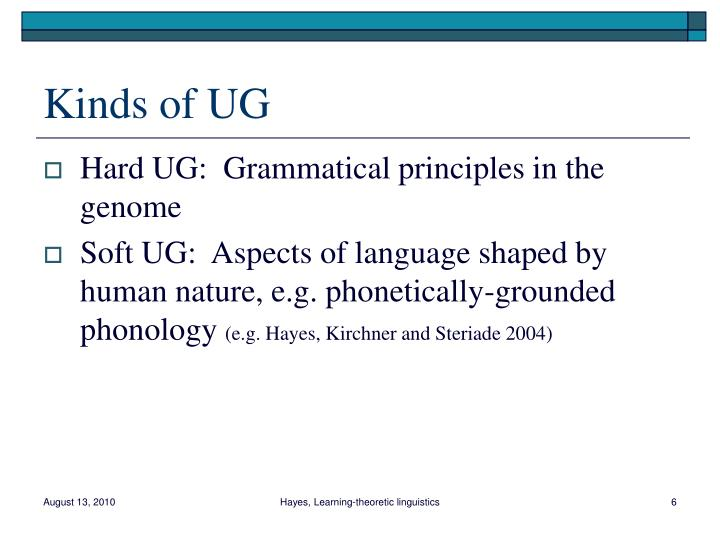 Kinds of UG