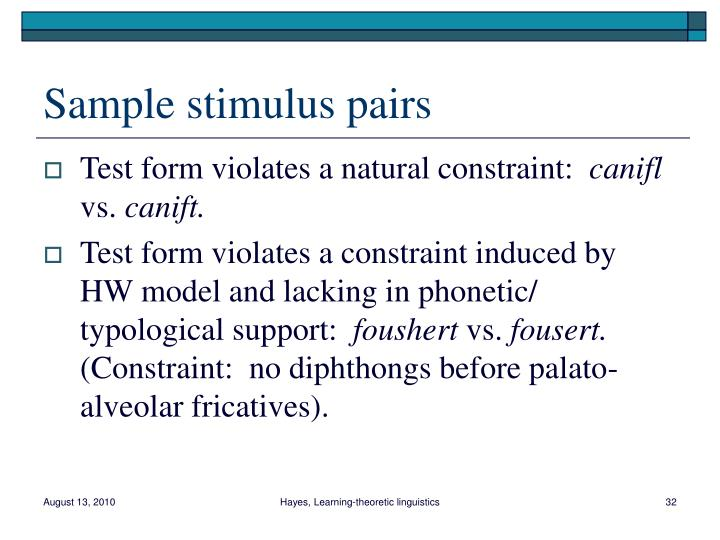 Sample stimulus pairs