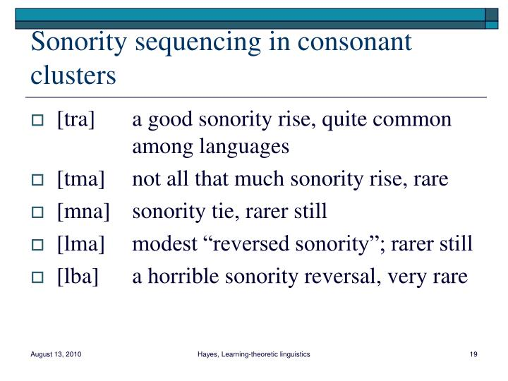 Sonority sequencing in consonant clusters