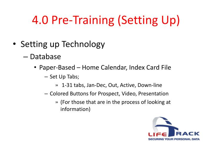 4.0 Pre-Training (Setting Up)