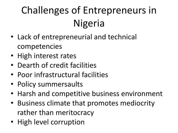 Challenges of Entrepreneurs in Nigeria