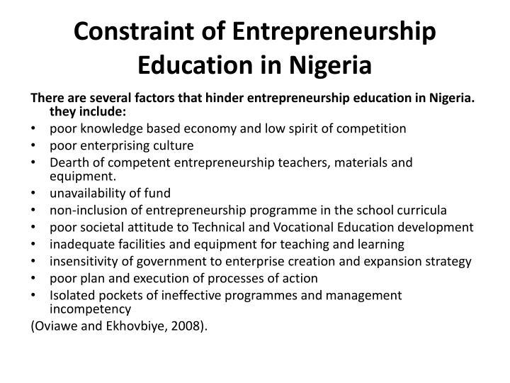 Constraint of Entrepreneurship Education in Nigeria