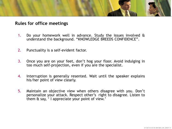 Rules for office meetings