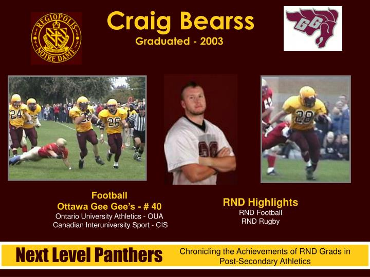 Craig bearss graduated 2003