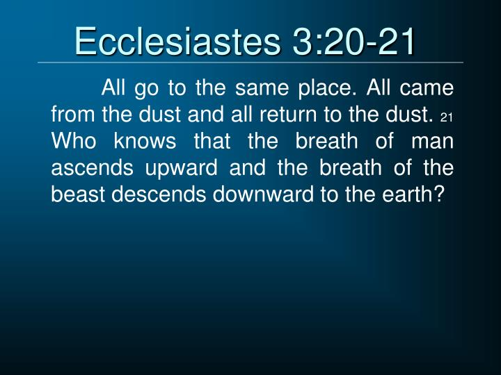 Ecclesiastes 3:20-21