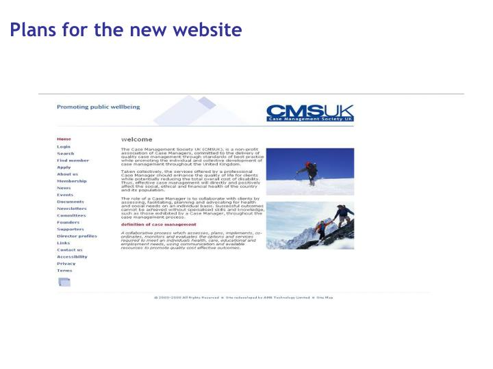 Plans for the new website